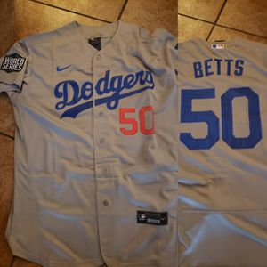 Dodgers betts jersey with World Series patch sizes Med to 3xl stitched firm price pick up only for Sale in Colton, CA