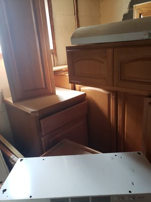 All natural wood constructed kitchen cabinets for Sale in Bedford, OH