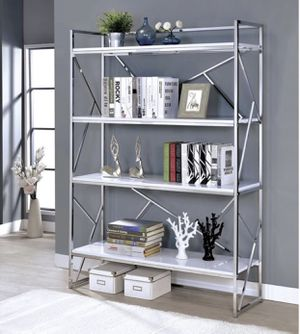 White Lacquer/ Chrome Bookcase (Brand New In Box) for Sale in Villa Park, CA