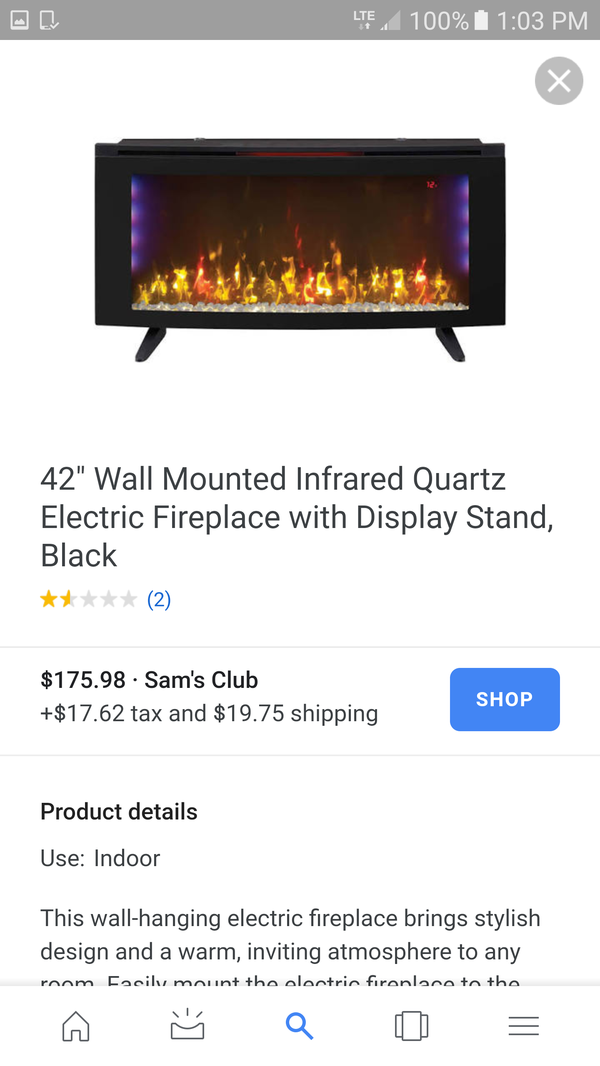 Wall mount electric fireplace with heater