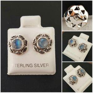 92.5 Sterling Silver Rainbow Moonstone Leaf Stud Earrings for Sale in Pawtucket, RI