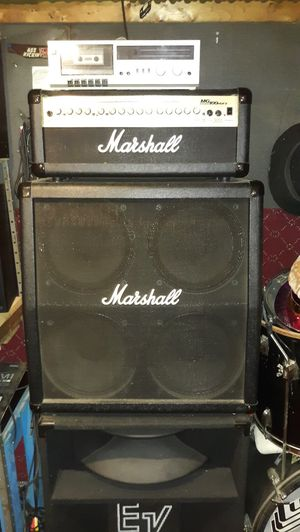 """100 watt Marshall amp and 4x12"""" slanted speaker cabinet or half stack. for Sale in Jessup, MD"""