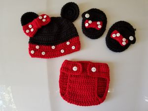 Crochet Baby Girl Minnie Mouse Outfit NB for Sale in Lyons, GA