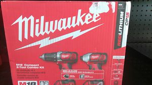 Milwaukee M18 compact 2-tool combo kit model 2691 - 22 fits all M18 batteries redlithium c p 1.5 brand new in box for Sale in Fort Lauderdale, FL