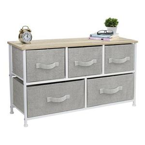 Porch & Den Bedroom Storage Chest of Fabric 5 Drawers Beige Top - for Sale in Brooklyn, NY