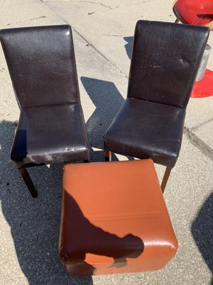 two leather chairs and ottoman for Sale in Bedford Park, IL