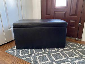 Black leather ottoman for Sale in Garfield, NJ