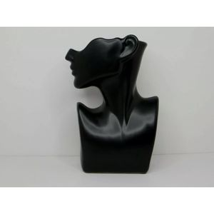 Large Half Body Face Ceramic Flower Pot Shiny Black Figure Home Decor 12 inch for Sale in Los Angeles, CA