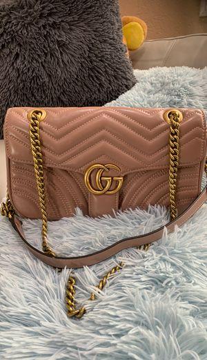 Gucci Marmont New super Mini purse Beige Matelasse Chevron leather cross body bag for Sale in Colton, CA