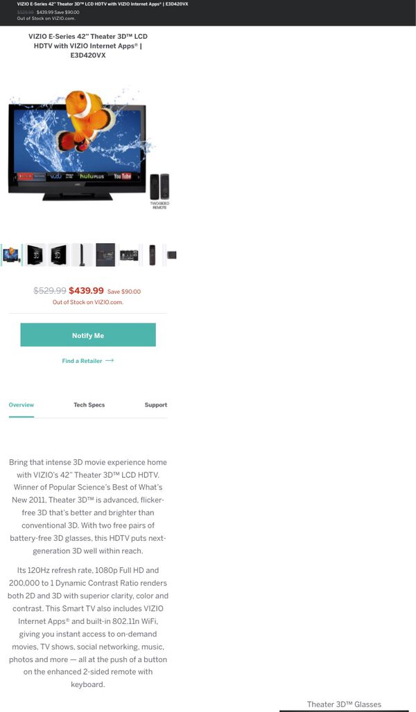 Vizio 42 inch 3D LCD Smart TV for Sale in Edina, MN - OfferUp