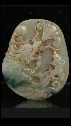 Cert'd Untreated Green Natural Grade A Jade jadeite Pendant dragon fish for Sale in Richmond, CA
