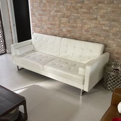 "87"" Wide Faux Leather Square Arm Convertible Sofa for Sale in Miami, FL"