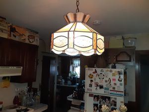 Unique antique style leaded glass pendant light chandelier for Sale in Worcester, MA