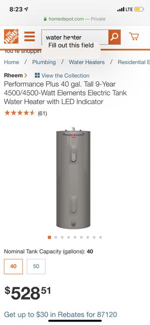 Then water heater / Electric for Sale in Albuquerque, NM