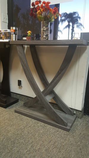 Leslie Crossing Legs Console Table, Distressed Grey Color for Sale in Santa Ana, CA