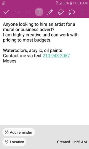 Freelance Artist for hire $$$$🎨📞💵📲 for Sale in San Antonio, TX