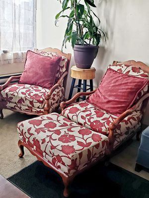 Solid wood livingroom chairs with ottoman for Sale in Denver, CO