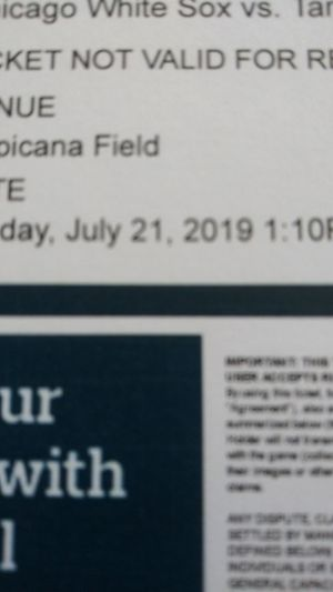 Ray's vs. White Sox Sunday July 21st $20 each lower level for Sale in Tampa, FL