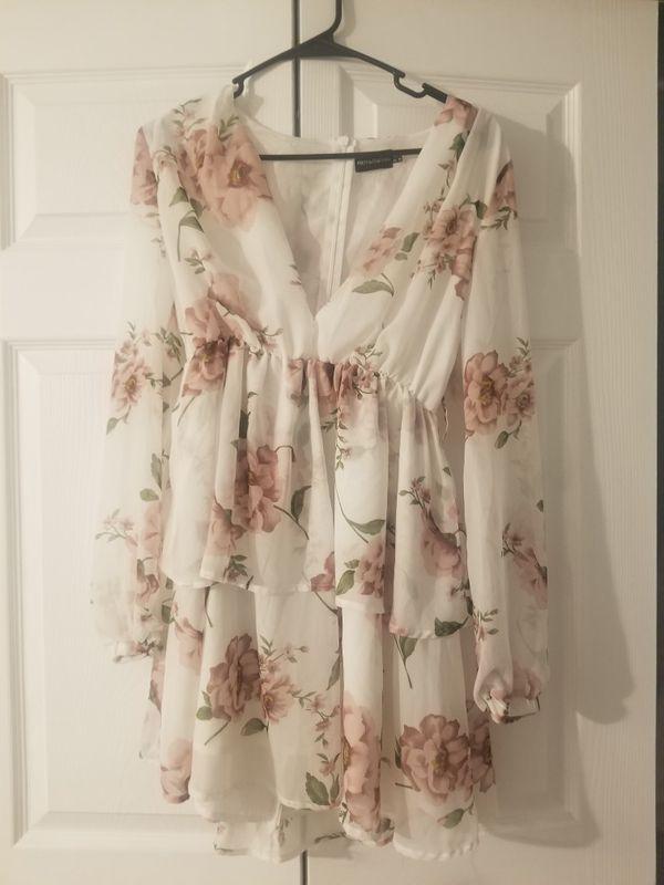 White floral chiffon skater dress
