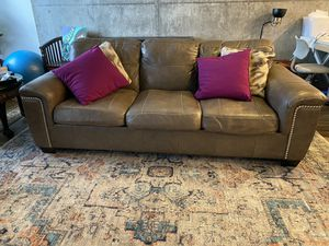 Ashley grey solid leather studded couch for Sale in San Jose, CA