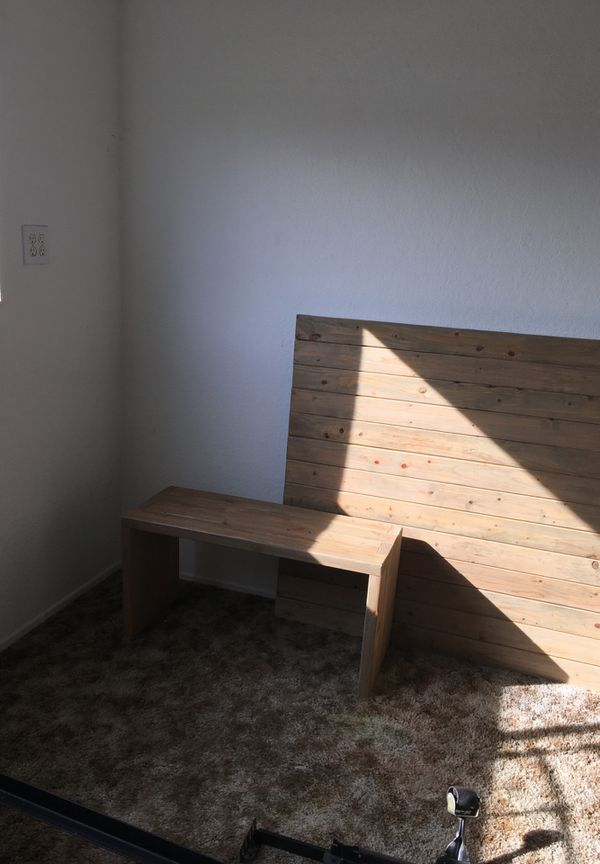 Custom-made headboard and side tables