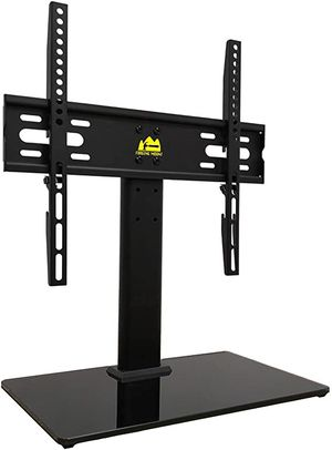 New FORGING MOUNT Universal TV Stand Base Table Top TV Stand for 26 to 55 Inch TVs -Height Adjustable TV Mount Stand with Tempered Glass Base & Wire for Sale in Pomona, CA
