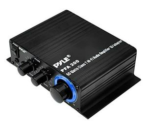 Pyle Home Mini Audio Amplifier - 60W Portable Dual Channel Surround Sound HiFi Stereo Receiver w/ 12V AC Adapter, AUX, MIC IN for Sale in Riverside, CA