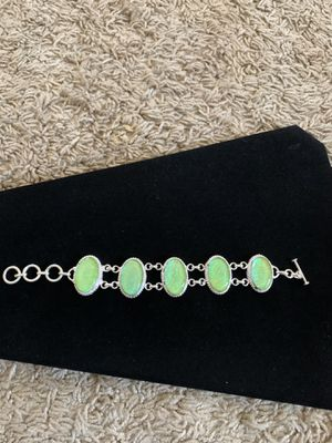 Last one green opal bracelet sterling silver 35$ firm big stones for Sale in Elk Grove, CA