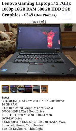 Lenovo Gaming Laptop i7 3.7GHz 1080p 16GB RAM 500GB HDD 2GB Graphics Card for Sale in Des Plaines, IL