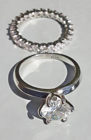 Brilliant Cut White Sapphire Sterling Silver Ring Set Size 7 Stamped for Sale in Broken Arrow, OK