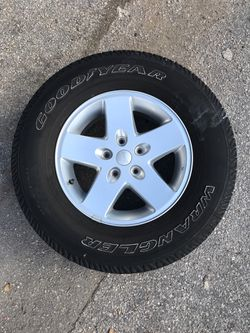 Five (5) Original Jeep Wheels from a 2014 Wrangler, one new tire, 255/75R 17, All Wheels are great conditions, Wheel size; 17 X 7.5 J for Sale in Lake Worth,  FL