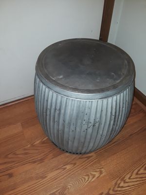 Galvanized Metal Chinese Garden Stool / Plant Stand / Side Table for Sale in Raleigh, NC