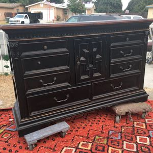 Antique dresser real wood ex Large drawers and storage for shoes 71 x 34 x 20 for Sale in Colton, CA