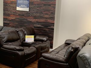 WE ARE OPEN! LEATHER GEL RECLINING SOFA AND LOVESEAT SET! NO CREDIT NEEDED FINANCING! SAME DAY DELIVERY for Sale in Tampa, FL
