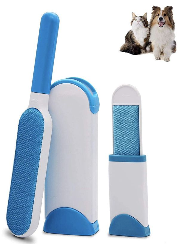 Hair Remover, Cat & Dog Fur Remover - Upgraded Animal Pet Hair Remover Brush with Self-Cleaning Base Efficient Double-Sided Perfect for Clothing, Cou