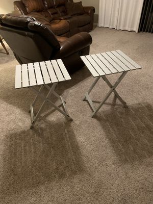 Two Coleman outdoor mobile Collapsible aluminum tables for Sale in Melbourne, FL