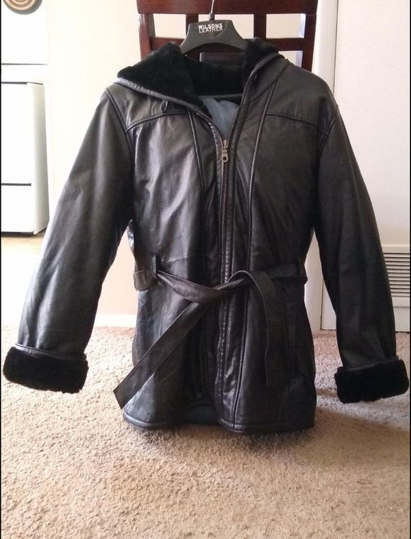 Vintage 1988 Wilsons Faux Fur Lined Coat with Hood ( Size 2X)