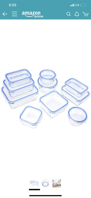 9 pieces glass food storage containers with lids $18 for Sale in Whittier, CA