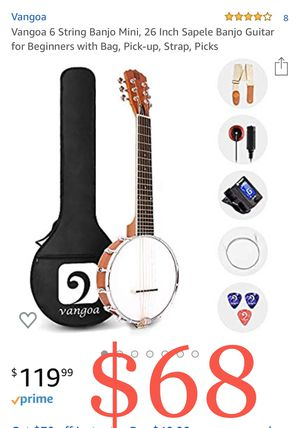 Vangoa 6 String Banjo Mini, 26 Inch Sapele Banjo Guitar for Beginners with Bag, Pick-up, Strap, Picks for Sale in Ontario, CA