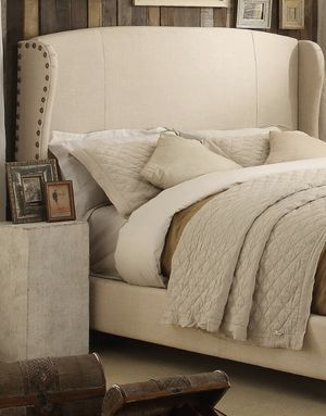 Natural linen queen headboard and frame for Sale in Stamford, CT