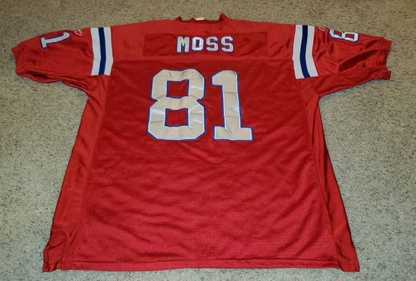 AUTHENTIC PATRIOTS RANDY MOSS JERSEY PATRIOTS VERY GOOD CONDITION SIZE 56 3XL