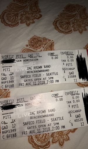 2 TICKETS ZAC BROWN BAND SAFECO FIELD (PIT STAND) for Sale in Tacoma, WA
