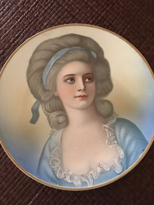 Antique portrait of a woman in blue, Empire China for Sale in Silver Spring, MD