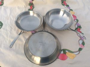 """SET of 3 Calphalon Professional Chef Series Stainless Steel Cooking pans! 12"""" 10"""" & 10"""" wok PERFECT FOR THANKSGIVING & CHRISTMAS COOKING! for Sale in Diamond Bar, CA"""