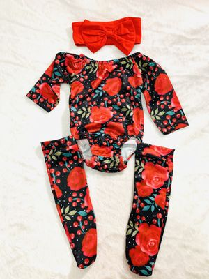 3/6mo red cherry romper with socks outfit for Sale in National City, CA