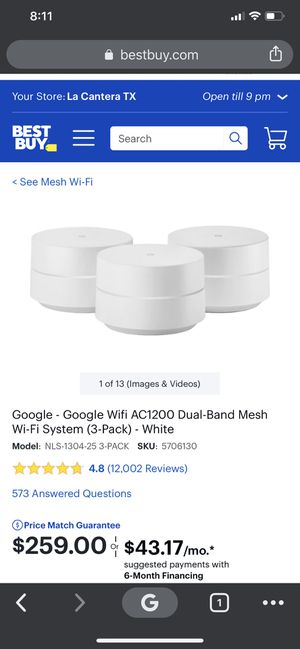 Google Wifi AC1200 Dual-Band Mesh Wi-Fi System (3-Pack) - White (Router) for Sale in Kerrville, TX