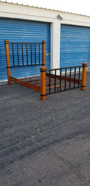 Queen size bed frame. Wood and metal. for Sale in Phoenix, AZ