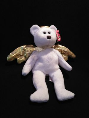 Mint Condition Ty Beanie Babies Halo II The Angel Bear With Gold Halo And Gold Wings for Sale in Portland, OR