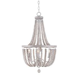 Kenroy Home Dumas 3-Light Weathered White Wood Bead Chandelier for Sale in Dallas,  TX