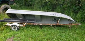 14 ft jon row boat with trailer aluminum for Sale in Medina, OH